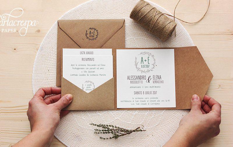 Partecipazioni Matrimonio Carta Kraft.Partecipazione Pocketfold Kraft Disegni Ulivo Cartacrespa