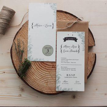 Partecipazione Botanica Carta Riciclata E Busta Vintage