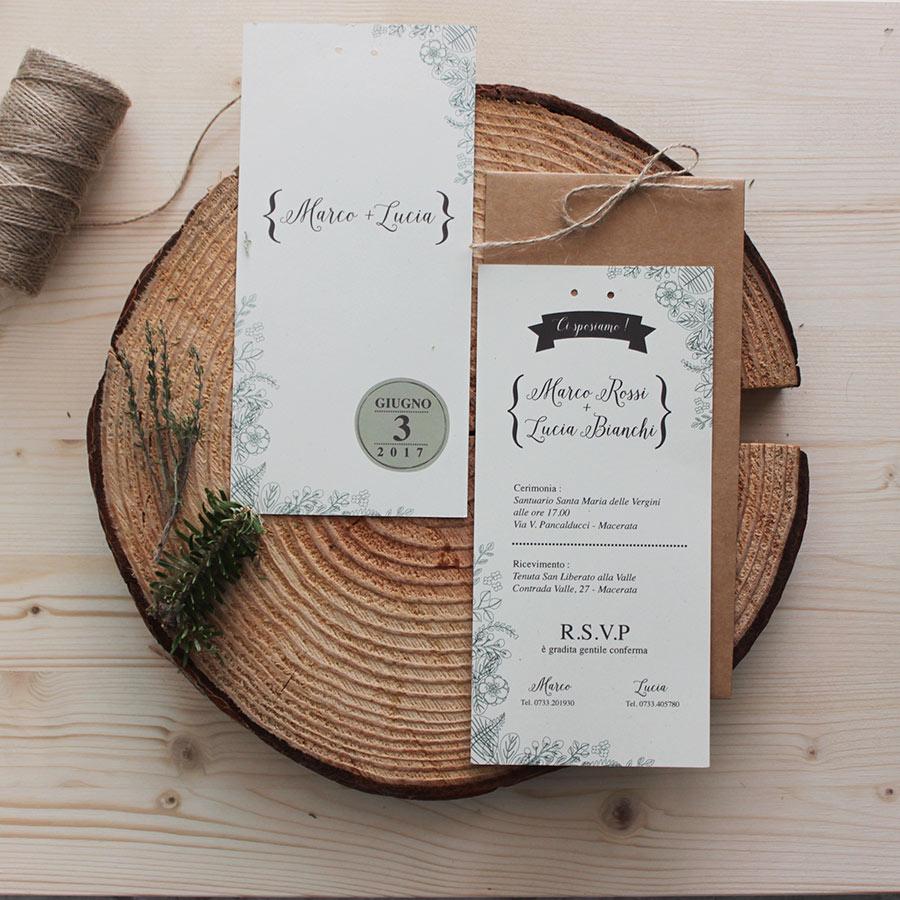 Partecipazioni Matrimonio Buste.Partecipazione Botanica Carta Riciclata E Busta Vintage Cartacrespa