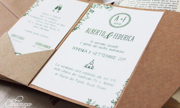 Invito Pocketfold Greenery Con Foglioline Verdi