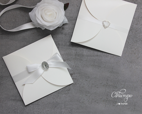 Partecipazione pocketfold bianco floreale