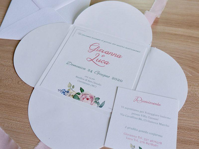 invito nozze bianco e rosa